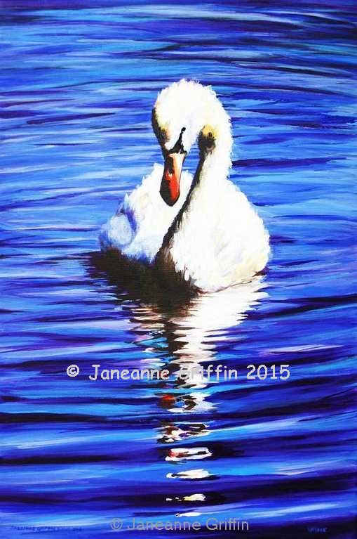 White swan on blue water